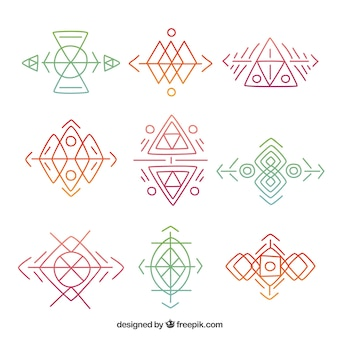 Collection of hand-drawn geometric shapes