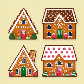 Collection of hand drawn gingerbread house