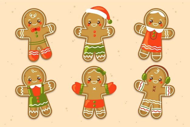 Collection of hand drawn gingerbread man cookie
