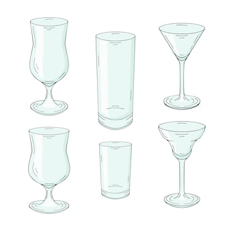 Collection of hand drawn glasses for cocktails and drinks. isolated on white.