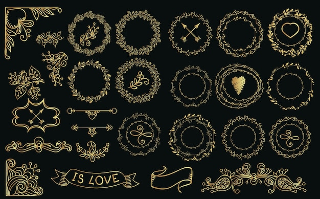 Collection of hand drawn gold laurels and wreaths.