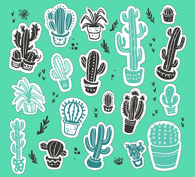Collection of hand drawn green cactus sketch stickers collection isolated on green textured background. flat cactus icon set. nature elements illustration.