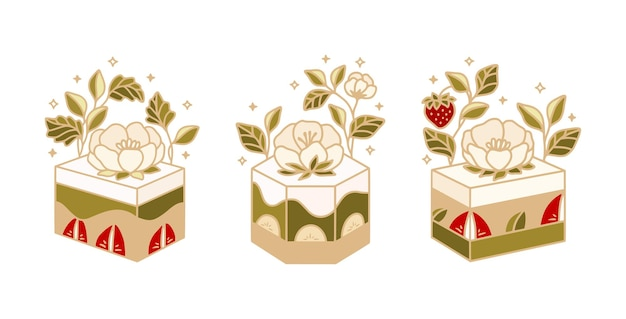 Collection of hand drawn green tea cakes with peony flowers and strawberries