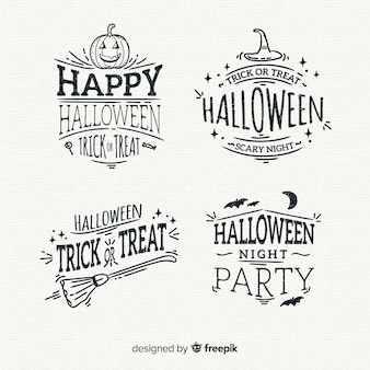 Collection of hand drawn halloween badge