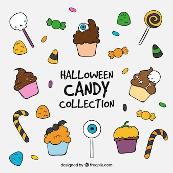 Collection of hand drawn halloween candies and cakes