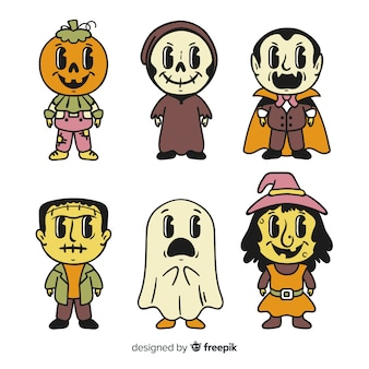 Collection of hand drawn halloween character