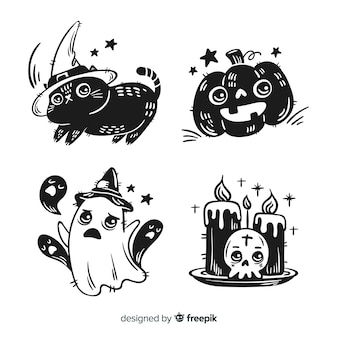 Collection of hand drawn halloween element