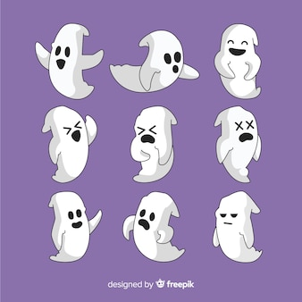 Collection of hand drawn halloween ghost