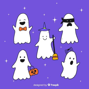Collection of hand drawn halloween ghosts