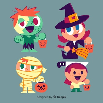Collection of hand drawn halloween kid costume