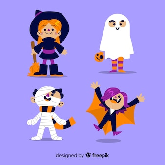 Collection of hand drawn halloween kid