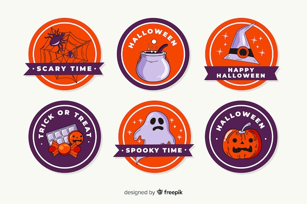 Collection of hand drawn halloween label
