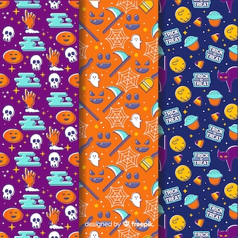 Collection of hand drawn halloween pattern