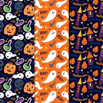 Collection of hand drawn halloween patterns