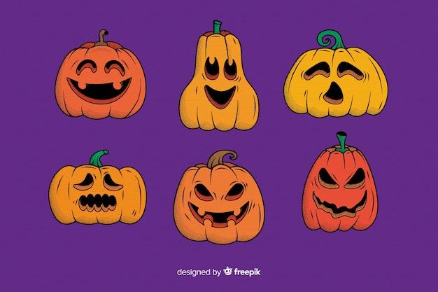 Collection of hand drawn halloween pumpkin