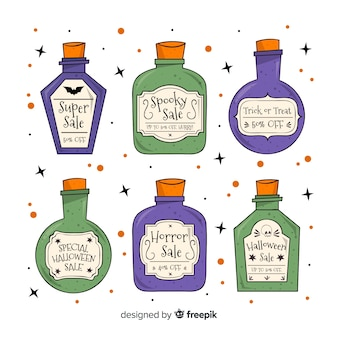 Collection of hand drawn halloween sale label