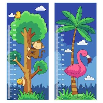 Collezione di misuratori di altezza disegnati a mano per bambini illustrati