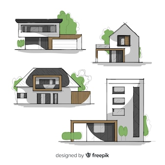 Collection of hand drawn houses