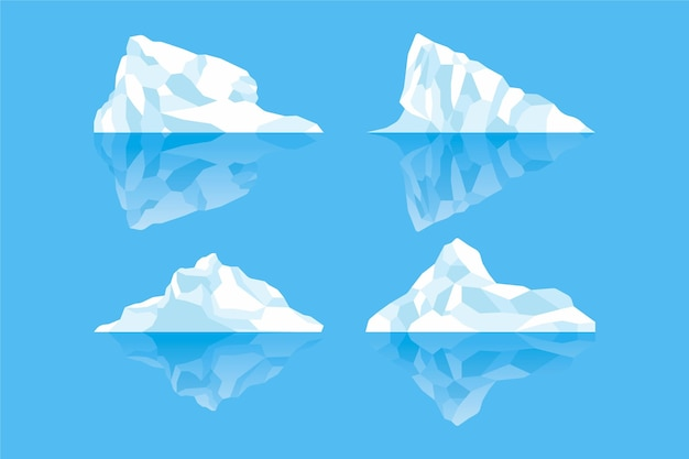 Collection of hand drawn icebergs