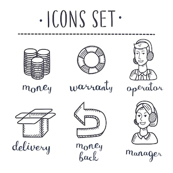 Collection of hand drawn icons business sketched in ink on white paper