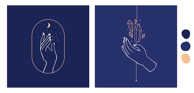 Collection hand drawn icons of hands illustrations. magic astrological symbols.