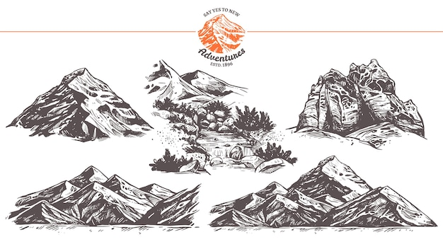 Collection of hand drawn illustration of mountains.