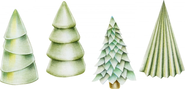 Collection of hand drawn isolated christmas trees