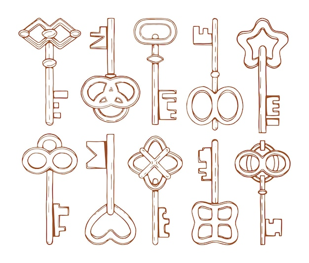 Collection of hand drawn keys.