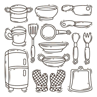 Collection of hand drawn kitchen equipment cartoon doodle style coloring