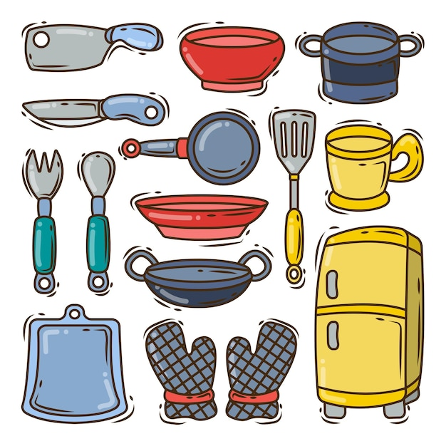 Collection of hand drawn kitchen equipment cartoon doodle style
