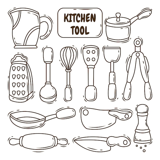 Collection of hand drawn kitchen tool cartoon doodle style coloring
