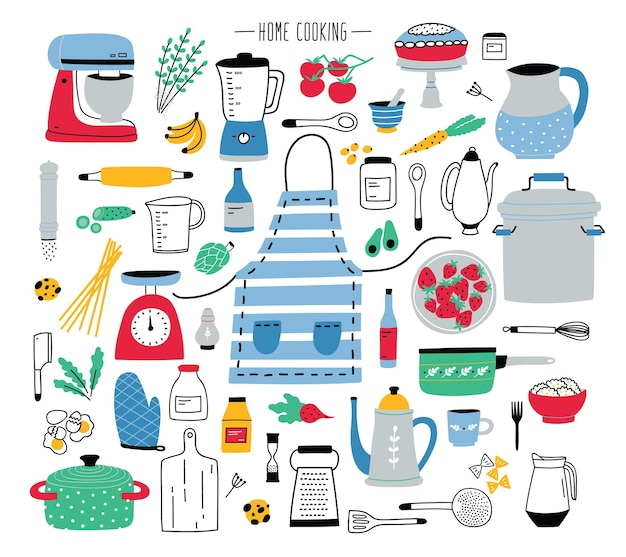 Collection of hand drawn kitchen utensils, manual and electric tools for home cooking