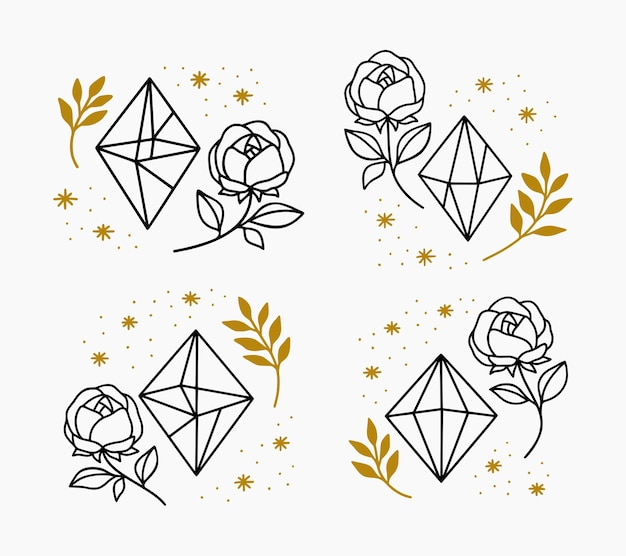 Collection of hand drawn magical elements with crystal, flower, stars & leaf branch