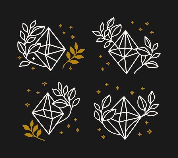 Collection of hand drawn magical elements with crystal, stars & leaf branch