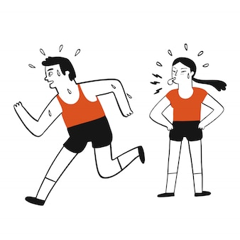 Collection of hand drawn man practice running with a girl being his coach.vector illustrations in sketch doodle style.