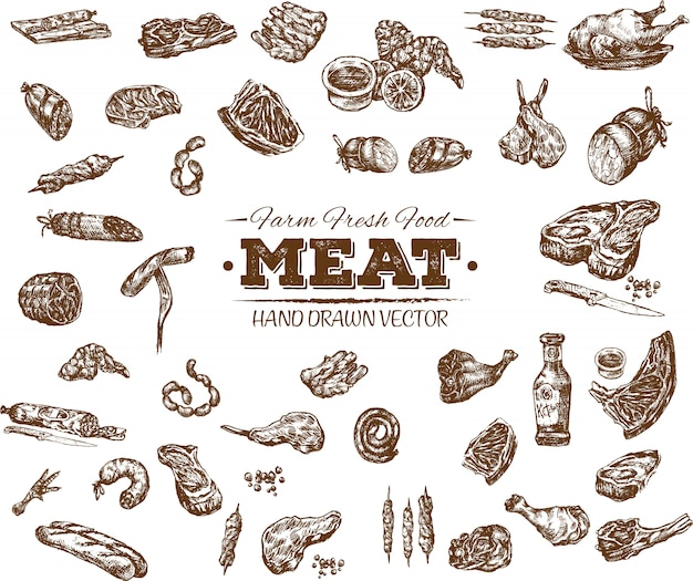 Collection of hand drawn meat products