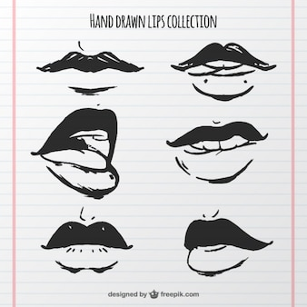 Collection of hand drawn mouths