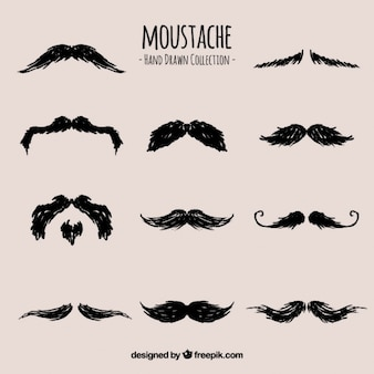 Collection of hand drawn mustaches