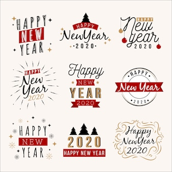 Collection of hand drawn new year 2020 label