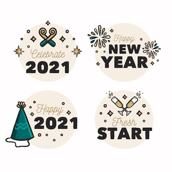 Collection of hand drawn new year 2021 badges