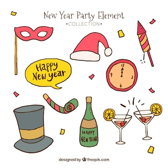 Collection of hand drawn new year party elements