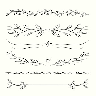 Collection of hand drawn ornamental dividers