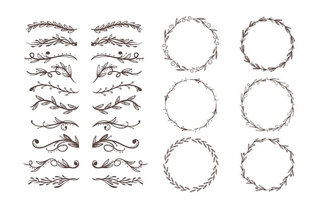 Raccolta di elementi ornamentali disegnati a mano