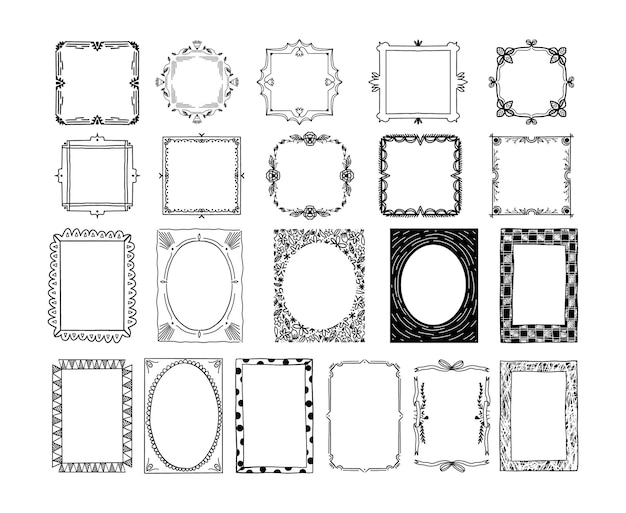 Collection of hand drawn ornamental frame