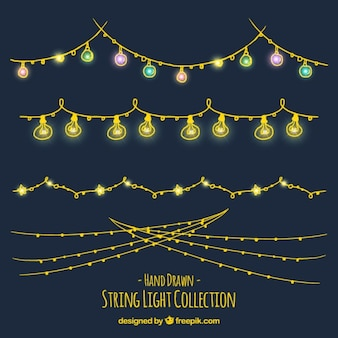 Collection of hand-drawn ornamental lights garlands