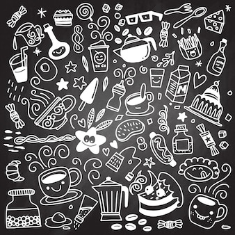 Collection of hand drawn outline buffet style breakfast , isolat