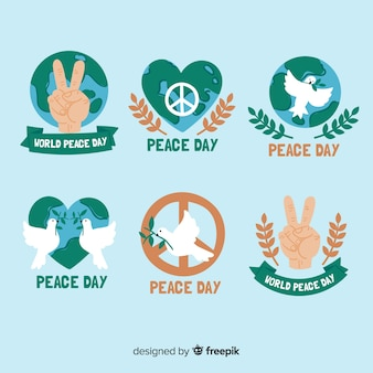 Collection of hand drawn peace day labels