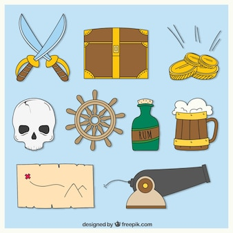 Collection of hand-drawn pirate accessories