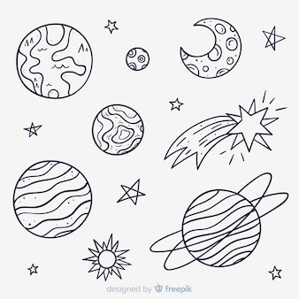 Collection of hand drawn planet in doodle style