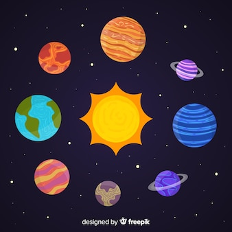 Collection of hand drawn planets stickers